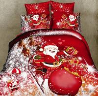 F006 100% cotton reactive print  3D bedding set 4 pcs of bedding one duvet cover+one bedsheet +2 pcs  pillowcase free shipping