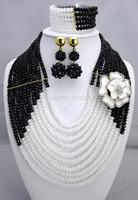 New Design Multistrand Nigerian Wedding Jewelry Set With Rhine   Flower Women African Beads Jewelry Set BJ15457