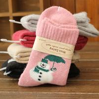 (10Pairs/Lot)Thick warm winter full terry warm Christmas cartoon rabbit wool women socks