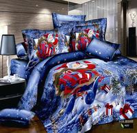 F002 100% cotton reactive print  3D bedding set 4 pcs of bedding one duvet cover+one bedsheet +2 pcs  pillowcase free shipping