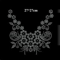 New arrival flower design hot fix rhinestone for neckline,heat transfer motif for garment,diy accessories,embellishment(ss-4076)