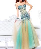 Tulle Fabric Beading Handwork Sweetheart Mermaid Prom Dresses With Stones OL102398
