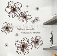 Free shipping Happy Flowers  50x70cm Removable DIY  Refrigerator wall decals decorative adesivo de parede vinyl wall stickers