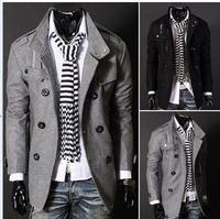 Fashion Casual Men's Slim Winter Warm Trench Coat Gentleman Jacket Woolen Double Button OutwearY23 (below is US size )