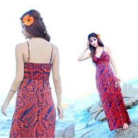 Free shipping 2014 new fashion Summer Sexy one piece brand Beach Dress Women Bohemia backless dress V-neck condole belt dress