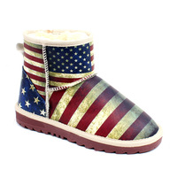 Free shipping,2014 hot female models vintage American flag printed women winter snow boots wholesale