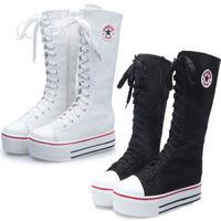 2014 fashion Women Girl Knee High Top Punk Lace Up Canvas Boot Platform Zipper women Shoes Sneaker for autunm/spring all-match