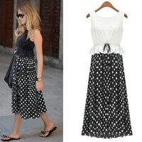2015 Bohemian Summer New Fashion Women's Long Style Dot Print Patchwork Sleeveless Dresses Dress for Women Free Shipping