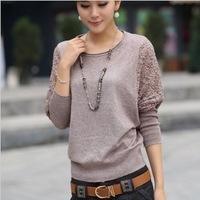 Hot Sale 2015 new lace long-sleeved round neck loose sweater knit sweater bat
