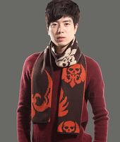 New Arrival Men Winter Scarf Print Skull Warm 180cm*29cm Cool Knitting Scarves KA025