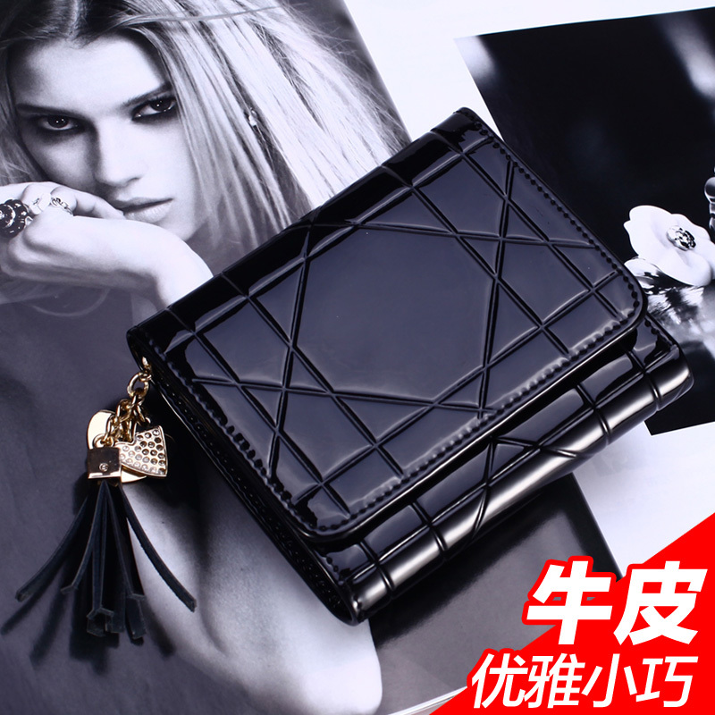 Xia Mo 2014 new lady leather tri-fold wallet slim female short paragraph small wallet patent leather wallet women wallet B1(China (Mainland))