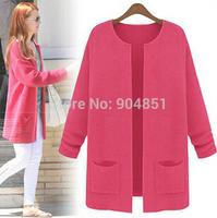 Drop Ship Fashion Knitted Korean Women Coat Big Yard Candy Colors Jacket Oversize Sweater Ladies' Cardigan Sweater Knitwear Tops