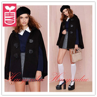 Drop ship!New 2014 brand autumn Vintage horn button hooded cloak womens OL tippet coats black cappa