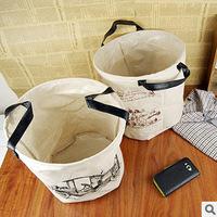 2pcs/lot Creative Household  Pastoral Fabric Finishing Laundry basket toys Zakka no cover Cotton Cloth laundry Storage basket