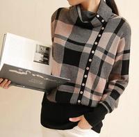 2015 New Autumn Winter Turtleneck Plaid Knitted Sweater Oblique Button Dero Women Long Sleeve blusas de inverno Pullovers ,B2678