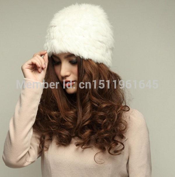 Free Shipping New 2014 Winter Genuine Knit Rabbit Fur Hat Nature Rabbit fur Cap Headgear Headdress Various Warm Women ODH1416(China (Mainland))