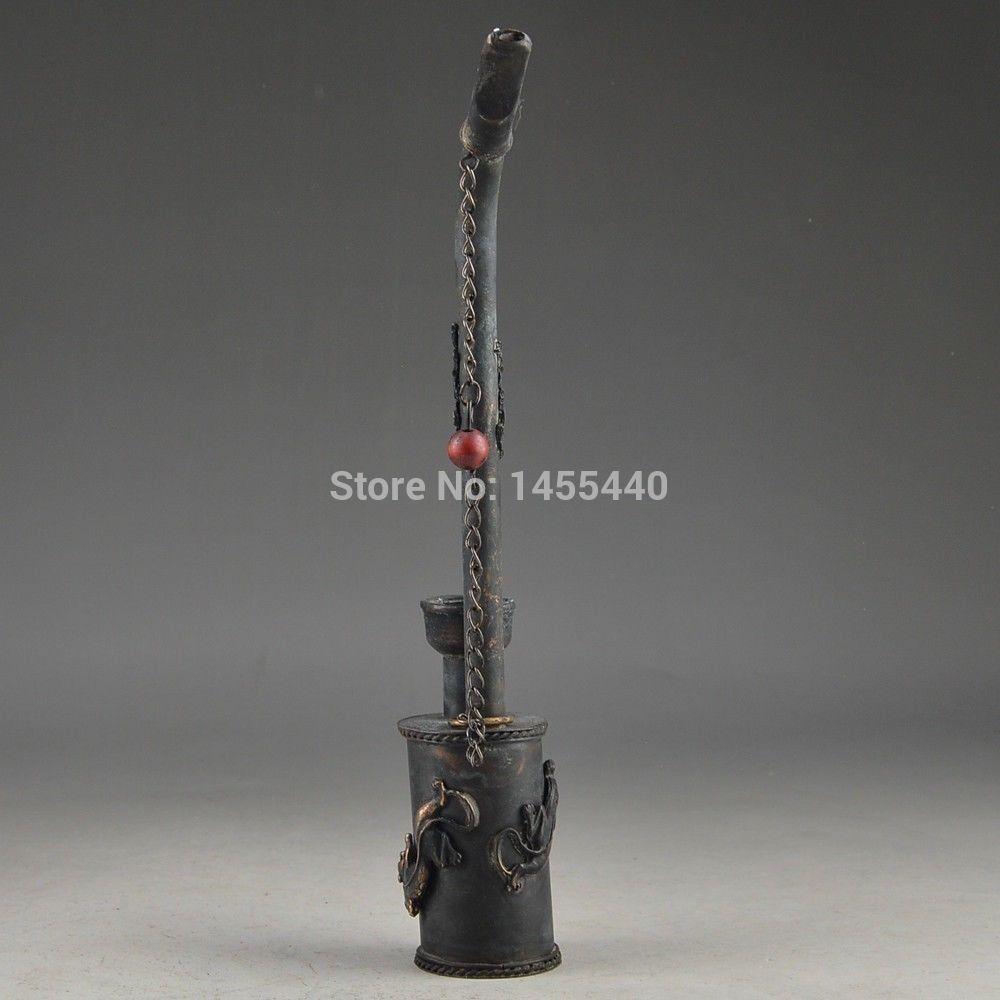 Античная китайский старый медный резные геккон дракон ручной бронзовый курительная трубка # 1