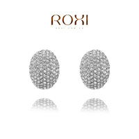 ROXI European top sell fashion ladybug earrings for women full created crystal white gold and rose gold plated freeshipping