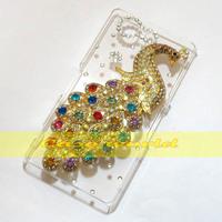 1 Pcs Handmade 3D Bling Pretty Peacock Clear Hard back case For Sony Xperia Z3 Mini