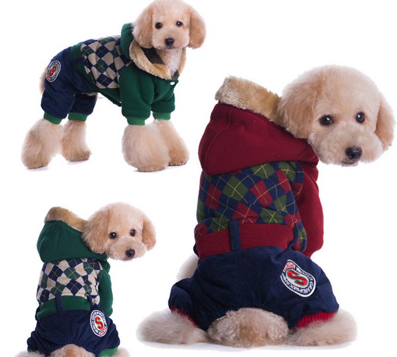Pet roupa do cão roupas de inverno nova grosso academia britânica quatro pernas dois tipos de cores(China (Mainland))