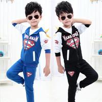 Children's Clothing 2014 Autumn  Kids Boy Clothes Cartoon Sweater Hoody Coat Set Boys Sportswear Sports Suit  Superman Suit