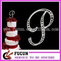 free shipping 10pcs/lot  12cm bling  acrylic rhinestone monogram letter p cake topper