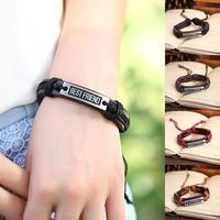 Wholesale lot 12 pcs 2014 Fashion Alloy Laser Bracelet With Words Fashion Genuine Leather Laser Bracelet Women & Men P0047