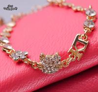 New Arrival Golden Plated Created Rhinestone Sweet Cat Flower Fashion Women Bracelet   SL196