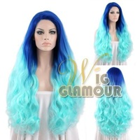 """Long Body Wavy 14""""-28"""" Ombre 2-Tone Blue Lace Front Wig Heat Resistant Synthetic Wig #Color & Style# As the Picture Show"""
