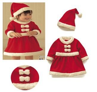 Baby 3 set/lot Girls Christmas Dress and Hat Set Christmas Clothing Set Children New Year Gift Festival Costumefree shipping(China (Mainland))