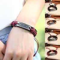 wholesale 12pcs/Lot Fashion Love Jewelry Handmade Genuine Believe Charm Hemp Leather Bracelet For Men and Women P0056