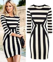 2014 New Arrival Fashion Women's Casual Dress Designer Striped Three Quarter Sleeve O-neck Lady Knee-length Party Dress 88484