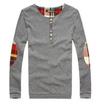Cotton mens T shirt Grid decoration Button design Tops plus size mans tees Men's clothing Free-shipping New 2014 Autumn