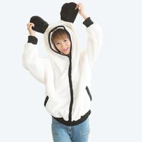 Ears Tail Panda Sweater Jacket  Casual Women Hoodies Sweatshirts Ladies Cardigans Coats