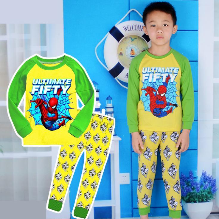 new arrival 2014 spiderman boys pajama set autumn winter family baby children sleepwear retail cartoon kids pajamas(China (Mainland))