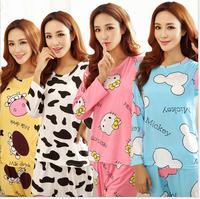2015 The new spring and autumn cartoon female long-sleeved pajama pants milk silk pajamas suits tracksuit