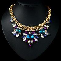 2014 New Fashion Luxury crystal Statement choker necklace chunky bee pendant chain women personality Party Necklace