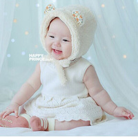 2014 new style Free Shipping Fleece Warm Hats Earflap Beanie Baby Toddler Boy Girl Kids  Cap 6 color   for 2-6 years baby