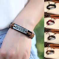 Free Shipping 12 Pcs/Lot Hot Sale Leather bracelet Handmade Fashion Motto Leather Men & Women Bracelet P0050