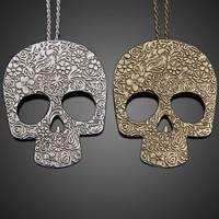 Hot Fashion 2014 Punk Carve Patterns Skeleton Skull Women Pendant Necklace V3NF