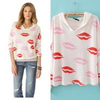 European and American Big Lips Printing New Fall Sweater Hoodie Women Jacket Casual Sport Coat Ladies Sweatshirts Outwear159