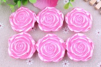 Chunky Large 42mm Newest  Pink  Metallic Plating Resin Flower beads 50pcs a lot for Chunky Necklace Jewelry