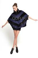 Winter New Style Elegant Women's Genuine Real Mink Fur Coat Jacket Female Fur Outerwear Bat Garment QD70820