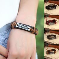 New 2014 Vintage Genuine Leather Wrap Metal English Charm bracelets & bangles brand for Women & Men Jewelry Wholesale P0061
