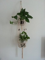 4 Legs Macrame Natural Cotton Plant Holders with Bamboo Ring Inside and Brown Wood Bead Decoration. Double Plates ,Natural Color