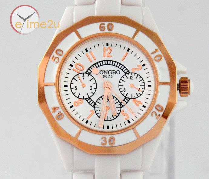 New Elegant White Ceramic Rose Gold Bezel Mens Fashion Casual Wrist Watch Quartz(China (Mainland))