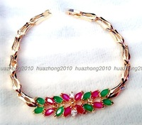"Jewelry Woman's 14K Gold natural green emerald Ruby Bracelet 7.5"" FG001"