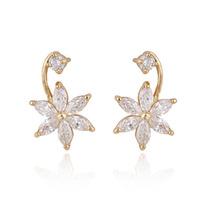 Fashion 18K Gold Plated Lovely Flower Crystal Stud Earrings V3NF
