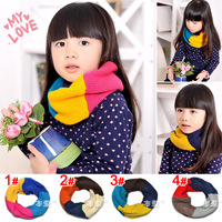 Free shipping New Children's winter knitted scarf Korean Rainbow color boy girls collar age for 1-6 years old WJ8240