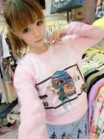 New 2014 Autumn Women's Cartoon Printed T shirt Pullovers Short Design Full Sleeve O-neck Sweatshirt Tops Free Shipping 202
